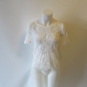 THE KOOPLES WHITE LACE SHORT SLEEVE BLOUSE SIZE XS
